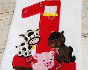 1st Birthday - Applique Onesie or T-Shirt - Made to Order - Farm Party - Cow, Pig, Horse, Barn - Embroidered Bodysuit