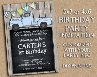 Vintage Style Truck - Customized Birthday Party Invitation Printable - Old Blue or Red Truck, Bunting, Rustic Barnwood Country Themed