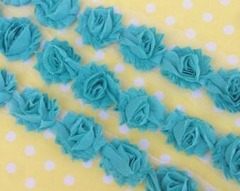 "Aqua MINI Petite Shabby Chiffon Flowers beautiful 1.5"" Rose Trim rosettes wholesale DIY baby headband clip supply small"