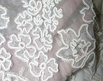 """No. 200 Gorgeous 1900-20 French Silk Lace (For Tiered Wedding Gown) Hand Beaded With Pearl Seed Beads 8 Yards X 11"""" Sold by 1/2 Yard"""