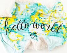 Baby Blanket Aqua + Yellow Hello World. The Cloud Blanket. Faux Fur Baby Blanket. Minky Baby Blanket. Map Baby Blanket.