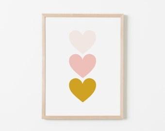 Pink Gold Hearts Nursery Art. Nursery Wall Art. Nursery Prints. Nursery Decor. Heart Wall Art. Instant Download.
