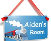 personalized locomotive steam train engine boys kids room decor bedroom door sign - P2052