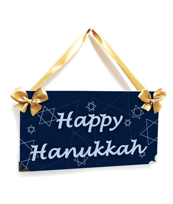 Happy Hanukkah sign blue star david door hanger holiday