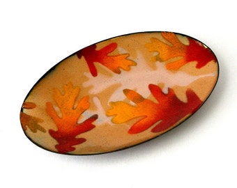 "Vintage MACKINTOSH ENAMELS 8"" Oval Dish TRA Porcelain Enamel on Copper 8in Orange Red Gold Leaf Design Mid Century Mod Artist Signed"
