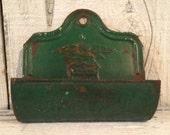 Comb Case/ Primitive Vintage USA  Metal Hanging Comb Case