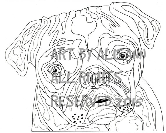 PUG Coloring Page - Instant Download - Coloring Book for Adults - Love Dogs - Love Pus