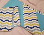 Flannel Baby Blanket with Flannel/Minky Lovie Mini Blankie Set - Blue/Green Chevron