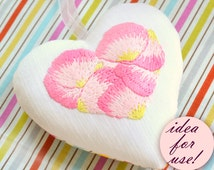 Hand embroidery patterns, heart embroidery, Valentine ornaments, crafts, diy gifts, flower petals