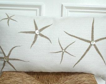 Beachy pillow cover,starfish pillow cover,starfish throw pillow,starfish decor,coastal decor,shell pillow,beach decor, lumbar - 14 x 24