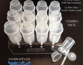 Push Pop Containers and Stand Combo Pack 12 count Push up Pops and 12 hole Stand