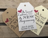 Wedding Gift Tags - A Sweet Ending To A New Beginning - Wedding Favor Tags - Customizable Personalized (WT1670)
