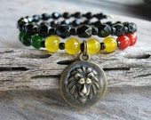 Rasta Lion Charm Bracelet, Carnelian & Jade Stacking Bracelet, Rastafarian Bracelet,  Lion of Judah Memory Bracelet, Black, READY To SHIP