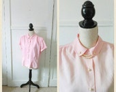 RESERVED/Secretary School 1950s Baby Pink Peter Pan Collar Blouse with Pearl Collar Detail