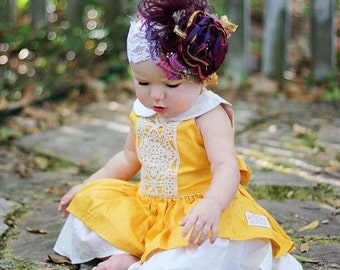 Baby Girl Headband -Matilda Jane- Persnickety - Mustard Pie Headband- Flower Girl Headband- Baby Headband- Girls Headband-