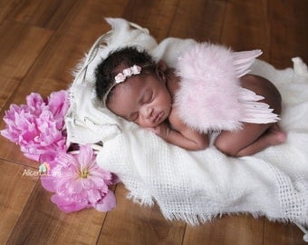 NEWBORN ANGEL WINGS, Newborn Wings with Headband, Newborn Photo Prop, Pink Angel Wings, angel wings, baby wings, Pink wings, Newborn Wings