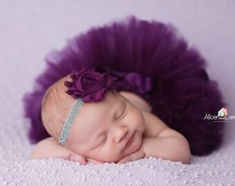 PLUM TUTU with Silver Glitter Headband, Newborn Tutu, Baby Tutu, Infant Tutu, Plum Tutus, Plum Baby Tutu, Photo Prop, Tutus for Children