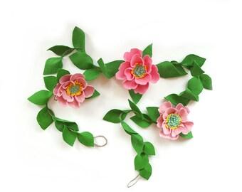 Felt flower vine - felt flower garland, floral garland, pink peony garland, pink nursery garland, pink bridal shower, pink baby shower