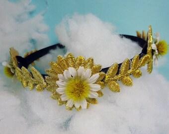 Gold leaf Headband, Grecian Headband, Grecian Hairpiece, gold headband, gold embroidery, gold laurel headband, olive leaf headband, golden