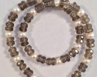 Bracelet:  DoubleWrap Smoky Quartz with Fresh Water Pearls