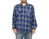 Woodsman Shirt - Menswear Winter Wool Tartan Vintage Lumberjack FLANNEL SHIRT Grunge Top Coat Plaid Check Print Blue Mens 1970s 70s Large L