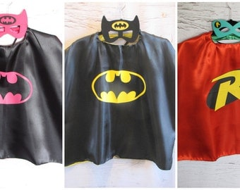 Sale- Batman and Robin Super Hero Capes and Masks for Boy and Girls or Halloween Costumes