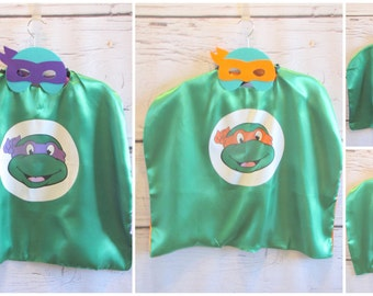 Sale- Ninja Turtles Super Hero Capes and Masks for Boy and Girls or Halloween Costumes
