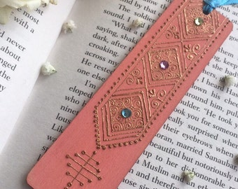 Coral Bookmark with gold Moroccan embellished henna pattern