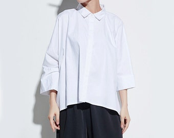 White Blouse Loose Blouse Batwing-sleeved Blouse Woman Shirt Cotton Shirt #B03