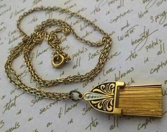 Necklace Vintage Chain Pendant Spain Damascene 24KT Niello Work Tassel Like Exotic Unique Boho