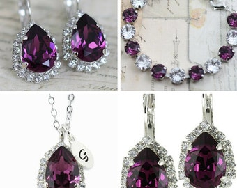 Purple Jewelry Set Necklace Earrings Bracelet Set Amethyst Purple Bridesmaid Set Maid Of Honor Gift Mother of Bride Gift Bridal Party Gift