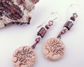 Reserved for Yvonne - Tree of Life Porcelain Charms and Mixed Metal Earrings