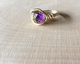 Amethyst ring / raw amethyst wire wrapped ring