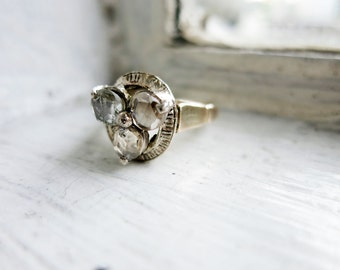 Antique 3-Stone Trilogy Rose-cut Diamond Engagement Ring in 8K Gold from the Philippines (US Ring Size 5.5)