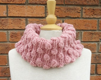 Pink Chunky Cowl, Pink Snood, Pink Bubble Cowl, Infinity Scarf, Handknited Women Cowl, Handmade Cowl