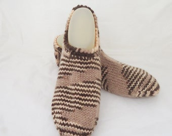 Knitted Socks / Slippers in Brown and Beige, Brown and Beige Short Socks, Hand Knitted Women Winter Home Socks / Slippers