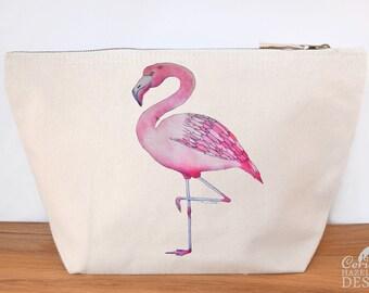 Flamingo Canvas Wash Bag, Large Zipper Pouch, Makeup Bag, Toiletry Bag, Accessory Bag
