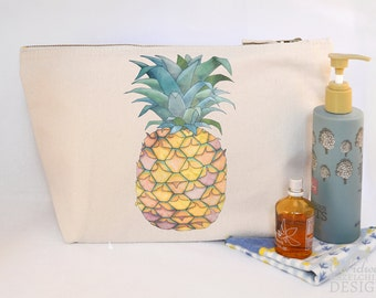 Pineapple Canvas Wash Bag, Large Zipper Pouch, Makeup Bag, Toiletry Bag, Accessory Bag