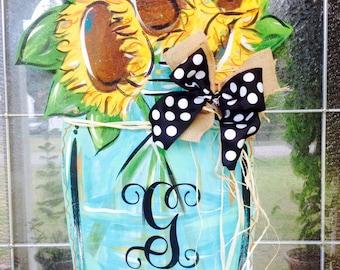 Mason Jar Door Hanger, Flower Door Hanger, Sunflower Door Decor