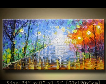 contemporary wall art,, Modern Textured Painting,Impasto  Landscape  Textured Modern Palette Knife Painting,Painting on Canvas by Chen 0928