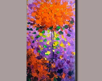 contemporary wall art, Palette Knife Painting,colorful flowers wall decor Modern Textured Painting, Home Decor, ON Canvas by Chen x11
