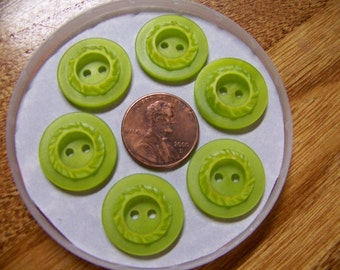Set of 6 Vintage Fancy Green Buttons 3/4""