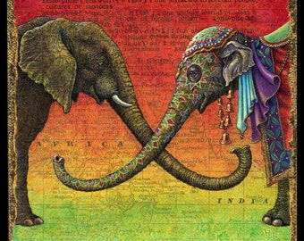 Elephant painting, Xenophile: World travel art, Indian and African elephants joining to form the letter X. Wild animal wall art, world map