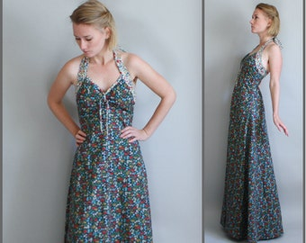 Long Floral dress Handmade Vintage from the 70s