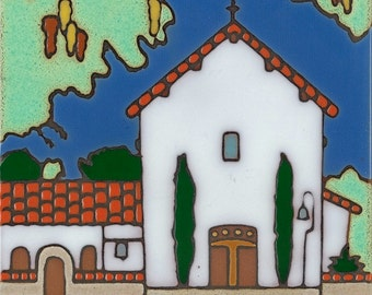 Ceramic tile, Mission San Miguel, hot plate, wall decor, installation, backsplash, kitchen tile, hand painted, hand crafted, art tile