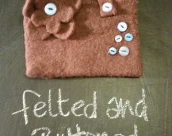 Mini felted and buttoned bag
