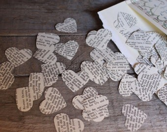 Confetti, Wedding Decorations, Book Page Confetti, Table Scatters, Heart Confetti, Book Page Hearts, Sweetheart Table,TINY hearts,Pkg of 200
