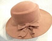 Vintage Beige Wool Womens Hat