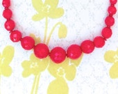 50% OFF SALE Vintage Red Glass Bead Choker Necklace
