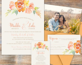 Fall Watercolor Flowers Wedding Invitation, peach and blush flowers, summer of fall wedding invitation suite